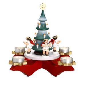 Adventsleuchter Engel mit Weihnachtsbaum rot mit Teelichter HxLxB 27x31x31,5cm NEU