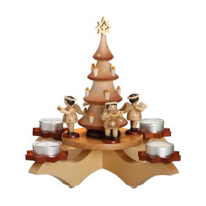 Adventsleuchter Engel mit Weihnachtsbaum natur HxLxB 27x31x31,5cm NEU