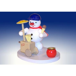 Tischdekoration Kerzenhalter Schneemann als Eisverkäufer BxHxT 9,5x7x7cm NEU