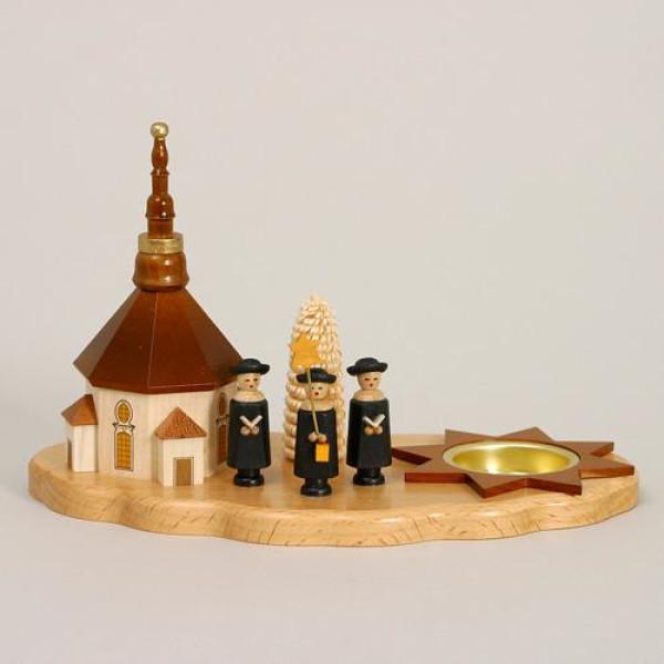 Kerzenhalter Kurrende mit Seiffener Kirche HxLxB 13,5x21,5x12cm NEU