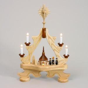 Schwibbogen Spitze Kurrende mit Seiffener Kirche elektrisch HxLxB 10x51x36cm NEU