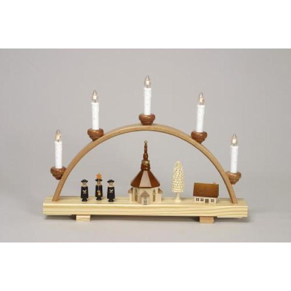 Schwibbogen Kurrende mit Seiffener Kirche elektrisch HxLxB 29x40x6cm NEU
