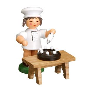Bäckerkind Bäckermädchen+Torte+Tisch ESCO Volkskunst Deko Seiffen NEU 9354