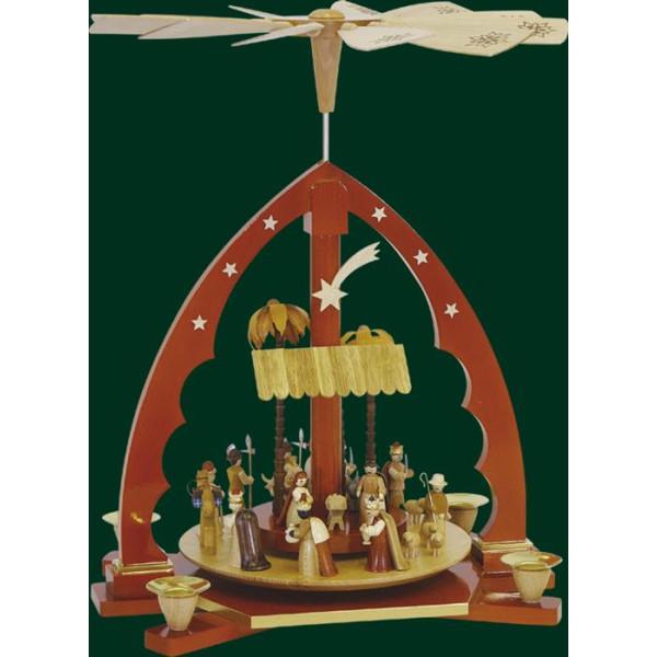 Tischpyramide Christi Geburt in Natur Pyramide Volkskunst Erzgebirge NEU 16133