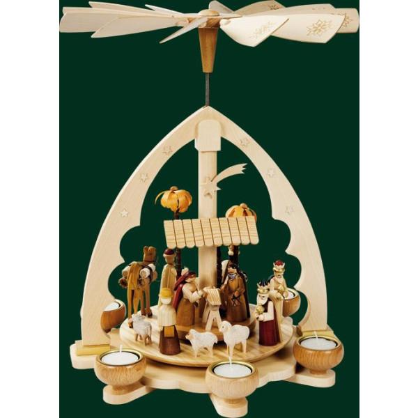 Tischpyramide Christi Geburt Teelicht Pyramide Volkskunst Erzgebirge NEU 16192