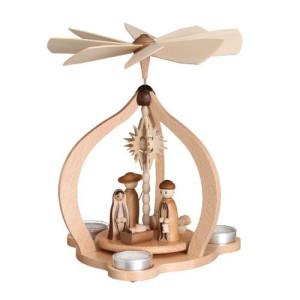 Tischpyramide Christi Geburt mit Schäfer natur HxLxB 26x26x27cm NEU