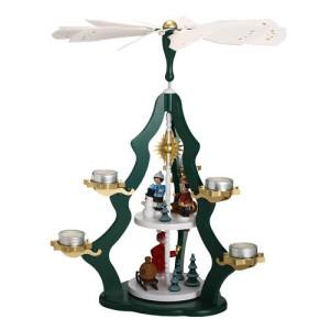Tischpyramide 2 stöckig mit Winterkindern und Weihnachtsmann Teelichter bunt HxLxB 37x37x47cm NEU