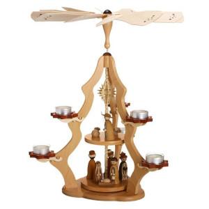 Tischpyramide 2 stöckig Christi Geburt und Teelichter HxLxB 37x37x47cm NEU