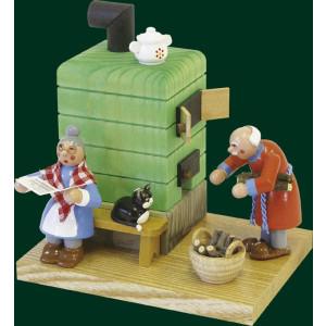 Räucherfigur Weihnachten Erzgebirge Seiffen Rauchofen mit Oma und Opa 26052 NEU