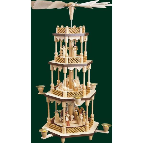 Geburt Christi Tischpyramide Pyramide Seiffen Handarbeit Erzgebirge NEU 01373