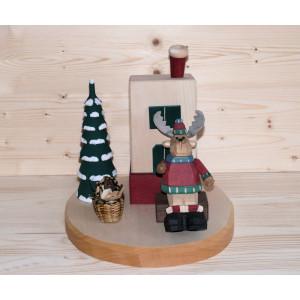 Räucherelch am Räucherofen geschnitzt 9 cm bunt Weihnachtsfigur NEU