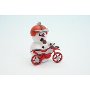 Räuchermann Schneemann Biker Weiß + Rotes Crossmotorrad 8 cm NEU