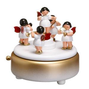 Spieldose mit Engeln weiß BxHxT 13x13,5x13 cm NEU