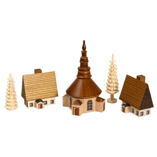 Weihnachtsdekoration Dorf Seiffen mit Ringelbäumchen natur Höhe 7 cm NEU