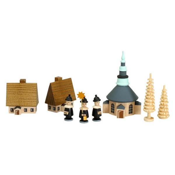 Weihnachtsdekoration Dorf Seiffen mit Ringelbäumchen und Kurrende bunt Höhe 27 mm NEU