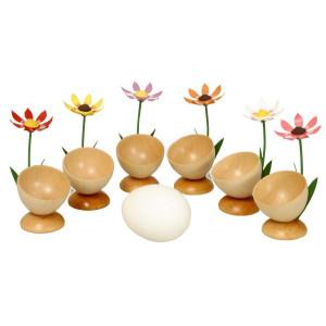 Tischdekoration 6 Eierbecher mit Blumen BxHxT 4,5x2,5x4,5cm NEU