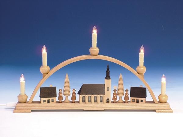 Fensterdekoration Schwibbogen Schneeberger Kirche natur elektrisch Länge 52cm NEU