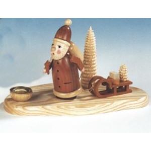 Tischdekoration Kerzenhalter Weihnachtsmann mit Schlitten natur Größe 12cm NEU