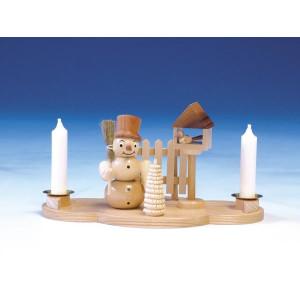 Kerzenständer Schneemann mit Besen natur Größe 11 cm NEU