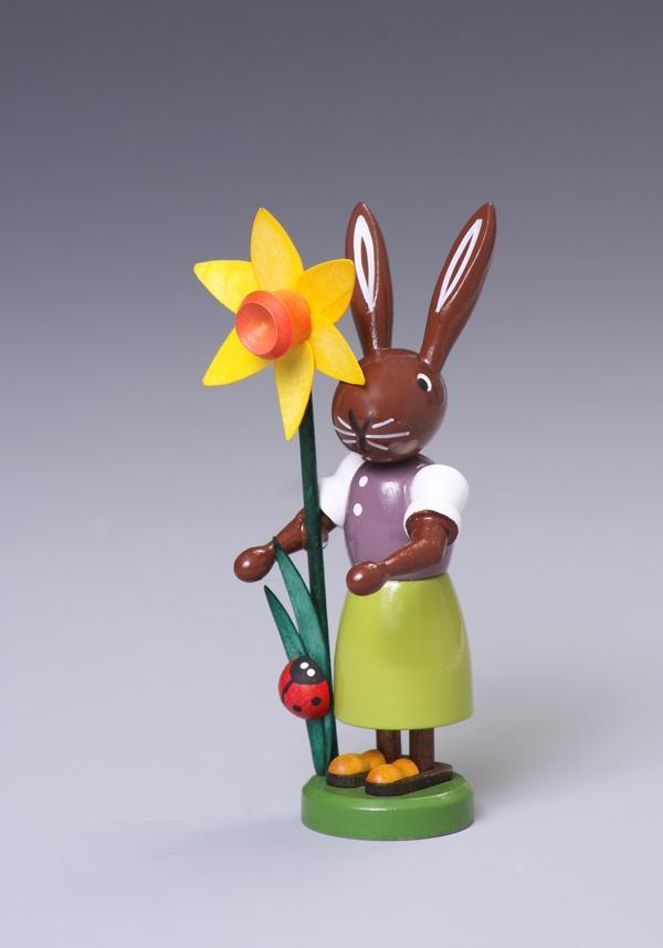 Osterfigur Hase mit Blume Höhe ca 9 cm NEU