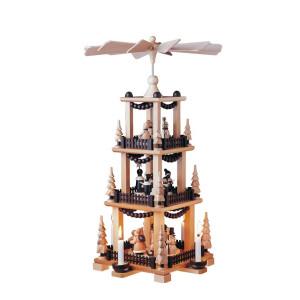 Pyramide mit Weihnachtsfiguren 2 stöckig natur Höhe=59cm NEU