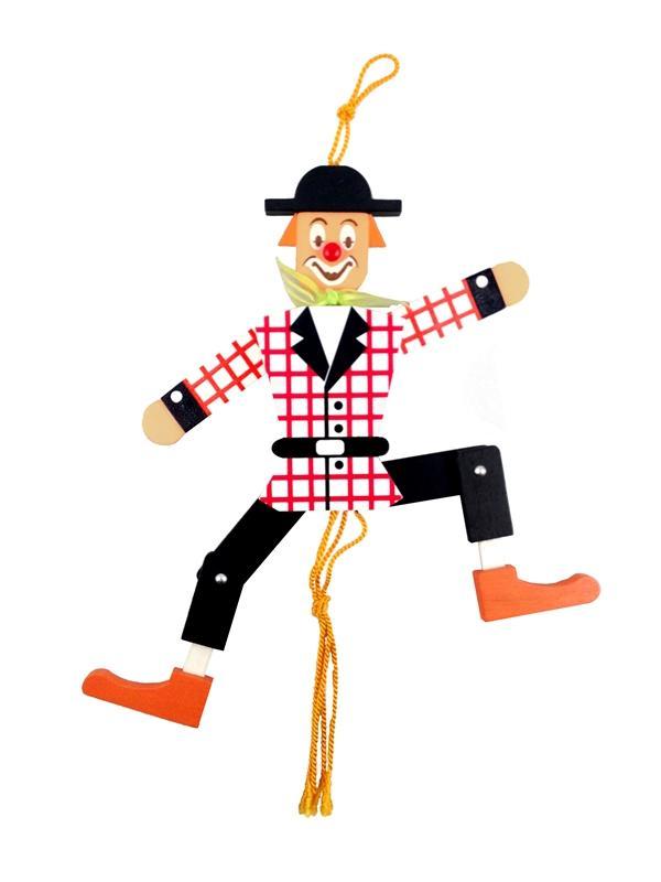 Holzspielzeug Hampelmann Clown bunt Höhe=26,5cm NEU