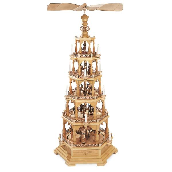 Pyramide Tischpyramide Heilige Geschichte 5-stöckig elektr. beleuchtet u. angetrieben (230V 50Hz) (LxBxH):69x60x145cm NEU