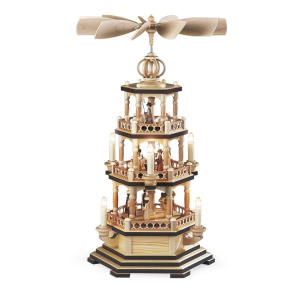 Tischpyramide Tischpyramide Heilige Geschichte 3 stöckig natur elektr. beleuchtet und angetrieben (120V 50Hz) (LxBxH):30x30x58cm NEU