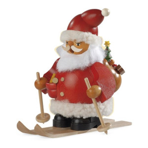 Räucherfigur Räuchermann klein Weihnachtsmann auf Skier (BxH):16x15cm NEU