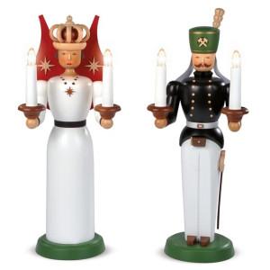 Weihnachtsfiguren Engel und Bergmann groß farbig elektrisch beleuchtet Trafo (230V 50Hz) (BxH):je17x40cm NEU
