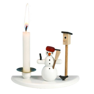 Kerzenhalter mit Schneemann mit Pfanne und Vogelhaus Höhe ca. 6,5cm NEU