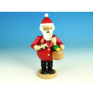 Räucherfigur Weihnachtsmann mit Eisenbahn & Geschenkesack farbig, Höhe 16,3 cm NEU
