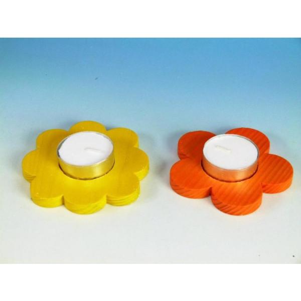 Teelichthalter Blumen 2er Set orange/gelb, D 9,0-10,0cm NEU