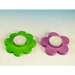 Teelichthalter Blumen 2er Set grün/rosa D 9,0-10,0cm NEU