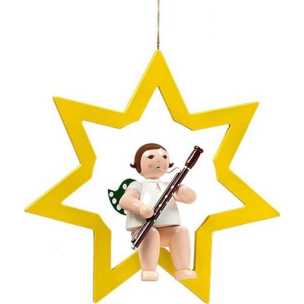 Fensterbild Engel im Stern mit Fagott ohne Krone Höhe 38 cm NEU