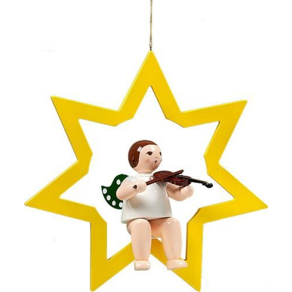 Fensterbild Engel im Stern mit Geige ohne Krone Höhe 38 cm NEU