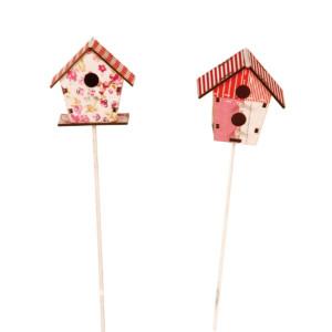 Vogelhaus-Pick Holz, 2 fach sortiert (1 PRO KAUF), rot-weiß 6x29cm NEU
