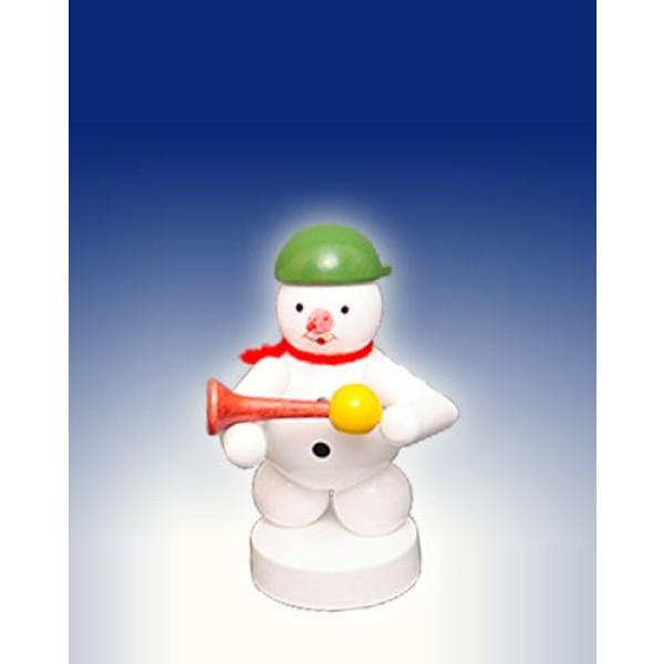 Weihnachtsdekoration Schneemann mit Hupe Höhe 8cm NEU