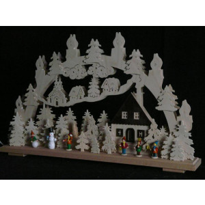 Schwibbogen el. Beleuchtet Wintermotiv mit Kinder und Schneemann B x H= 70x43cm NEU