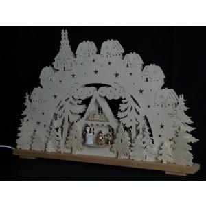 Schwibbogen el. Beleuchtet mit Kinder und Weihnachtsmann B x H= 70x43cm NEU