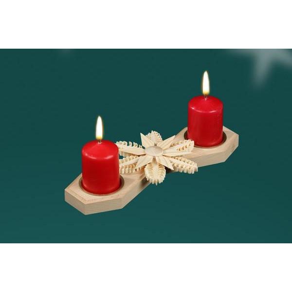 Tischschmuck Kerzenhalter für 2 Kerzen Mittig mit Stern BxHxT=22x3x10cm NEU
