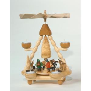 Teelichtpyramide Waldleute bunt Höhe= 36cm NEU