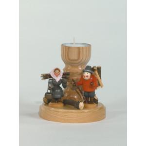 Teelichthalter Holzsammler bunt Höhe= 11cm NEU