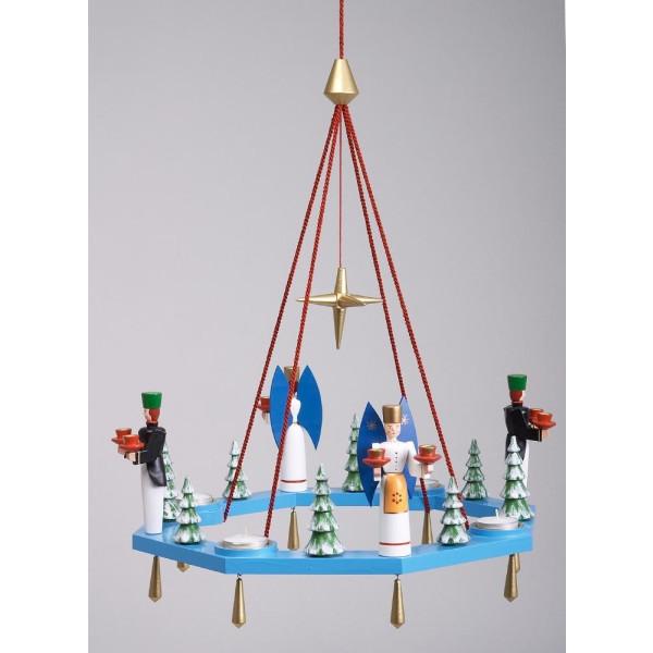 Lichterkranz Adventskranz blau mit Engel und Bergmann BxT = 38x38cm NEU