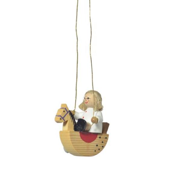 Baumbehang Puppe auf Schaukelpferd Größe ca 5 cm NEU