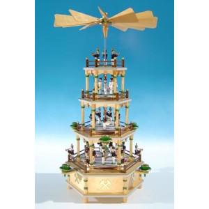 Bergmann-Pyramide mit Spielwerk / 4 Etagen mit Bergaufzug um 1850 Höhe ca 50 cm NEU