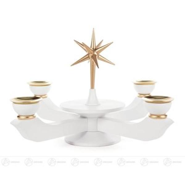 Adventsleuchter mit Stern weiß groß, für Kerzen d=20mm Breite x Höhe x Tiefe 24 cmx19 cmx24 cm NEU
