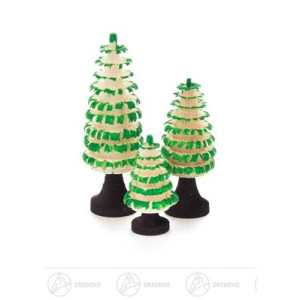 Baum Gerillte Bäumchen mit Stamm, grün (3) Höhe ca 4 cm NEU