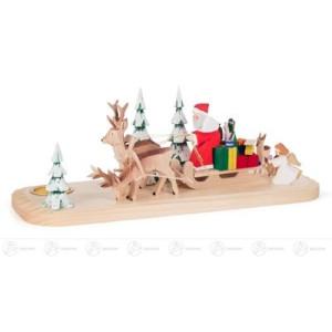 Schnitzerei Weihnachtsmann im Hirschschlitten mit Engel und Bäumen, geschnitzt, für Teelicht Höhe ca 12,5 cm NEU