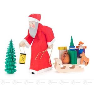 Schnitzerei Weihnachtsmann geschnitzt mit Schlitten und Bäumchen Breite x Höhe x Tiefe 3,5 cmx10,5 cmx3 cm NEU